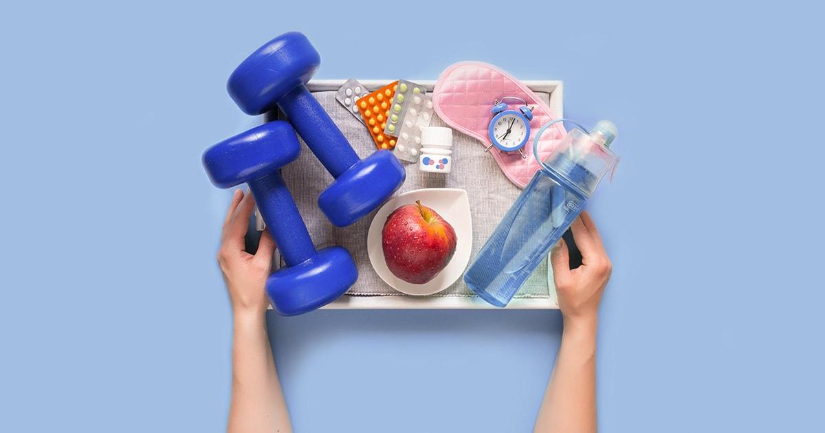 Terveellisen elämäntavan elementit: liikunta, ravinto ja lepo